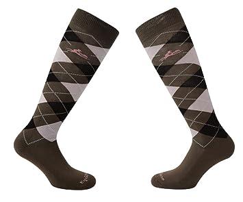 equi-theme Diamante rombos calcetines por la rodilla - talla pequeña (GB 2-5 EURO 35-38) - color marrón/ROSA: Amazon.es: Deportes y aire libre