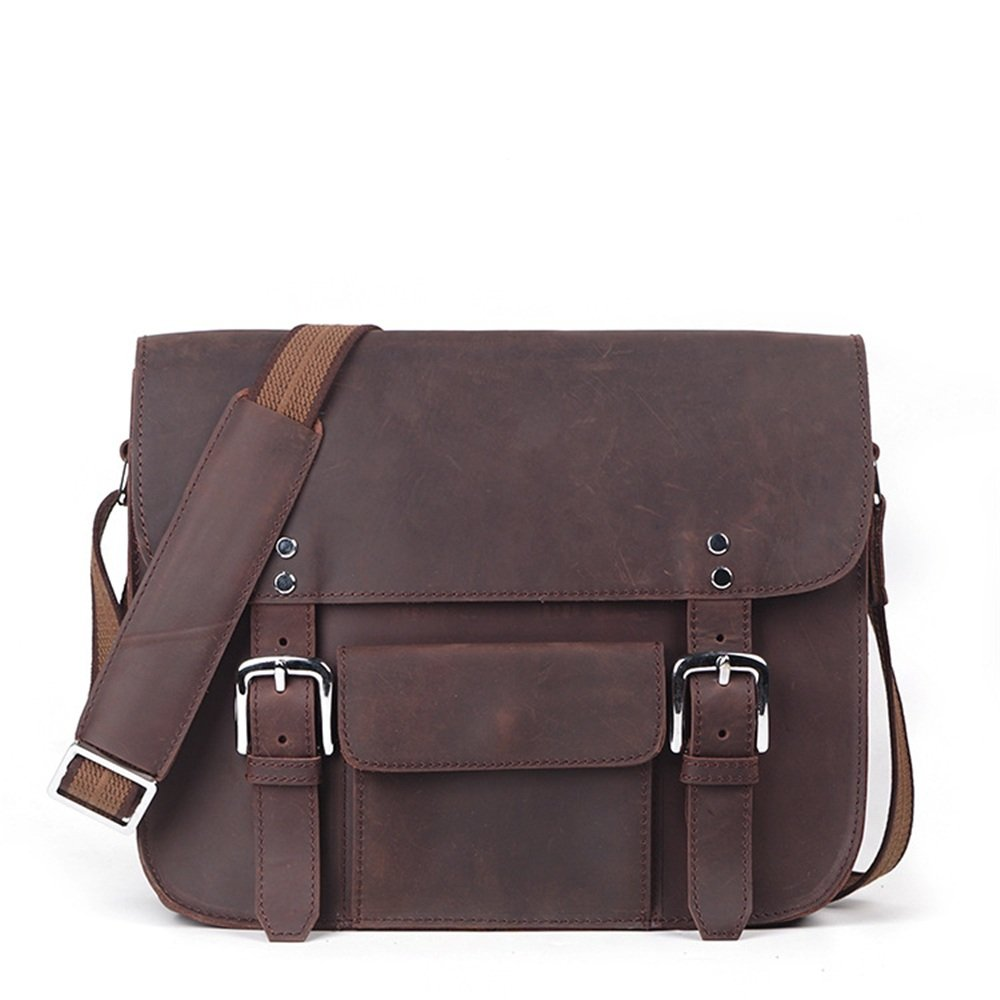 XUROM Briefcase Bag Retro Casual Men's Zippered Leather Crossbody Shoulder Bag Briefcase Dark Brown