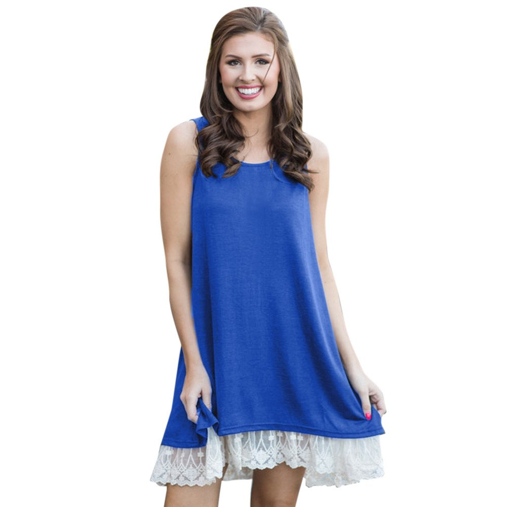 wodceeke Women Casual Loose Solid Color Sleeveless O-Neck Lace Patchwork Mini Dress(Blue,XL)