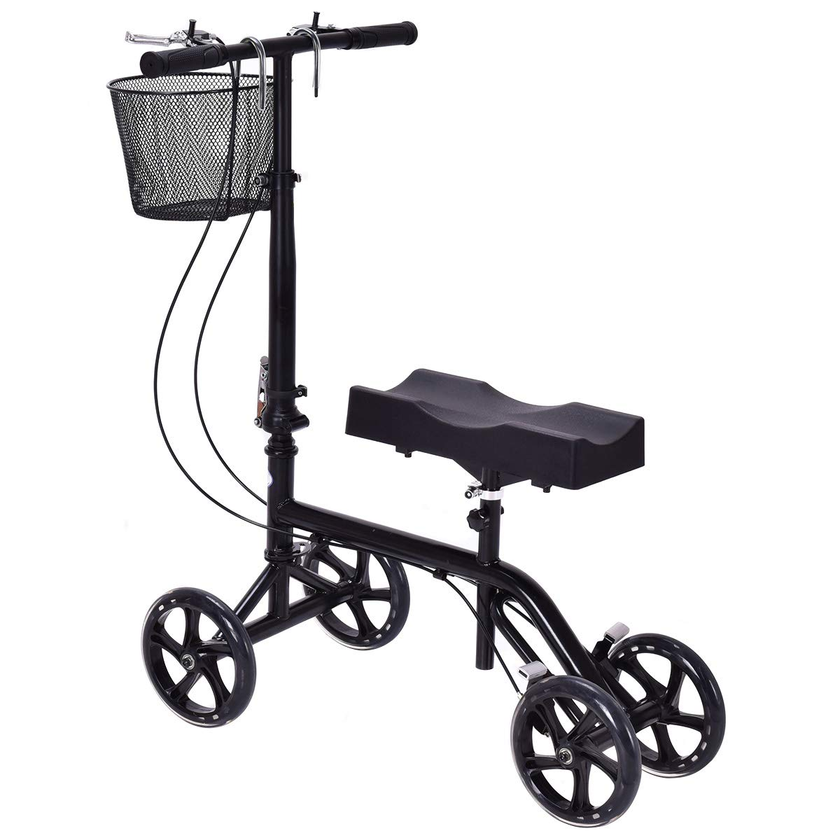 Gymax Knee Walker, Foldable Steerable Knee Scooter with Orthopedic Seat Pad, Adjustable Height Deluxe Brake System and Basket, for Broken Leg, Foot Injuries by GYMAX