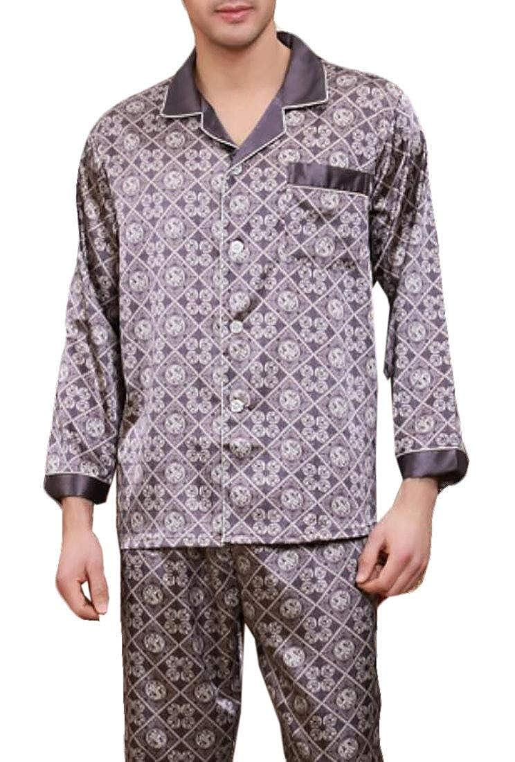 KLJR Men Silk Satin Print Button Down Pajamas Set Loungewear