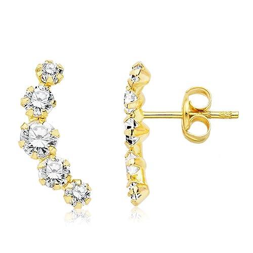 mejor proveedor último estilo de 2019 buscar el más nuevo Iyé Biyé Jewels Pendientes niña Mujer trepador 12 mm circonitas Garras Oro  Amarillo 18 ktes Cierre presión