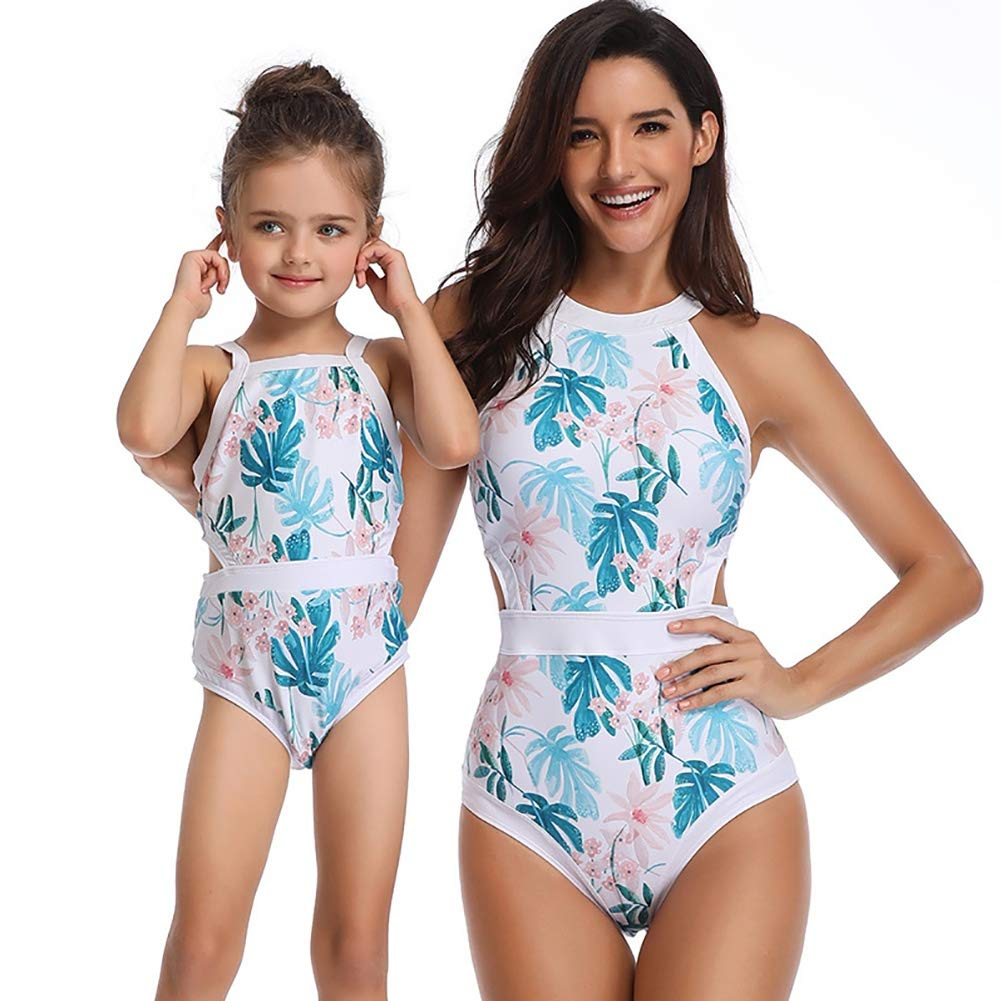 Family Matching Swimsuit Mommy and Me One Piece Floral Printed Swimwear Bathing Suit Beachwear