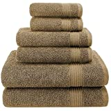 Hotel & Spa Quality, Absorbent and Soft Decorative Kitchen and Bathroom Sets, 100% Genuine Cotton, 6 Piece Turkish Towel Set, Includes 2 Bath Towels, 2 Hand Towels, 2 Washcloths, Peanut Brown