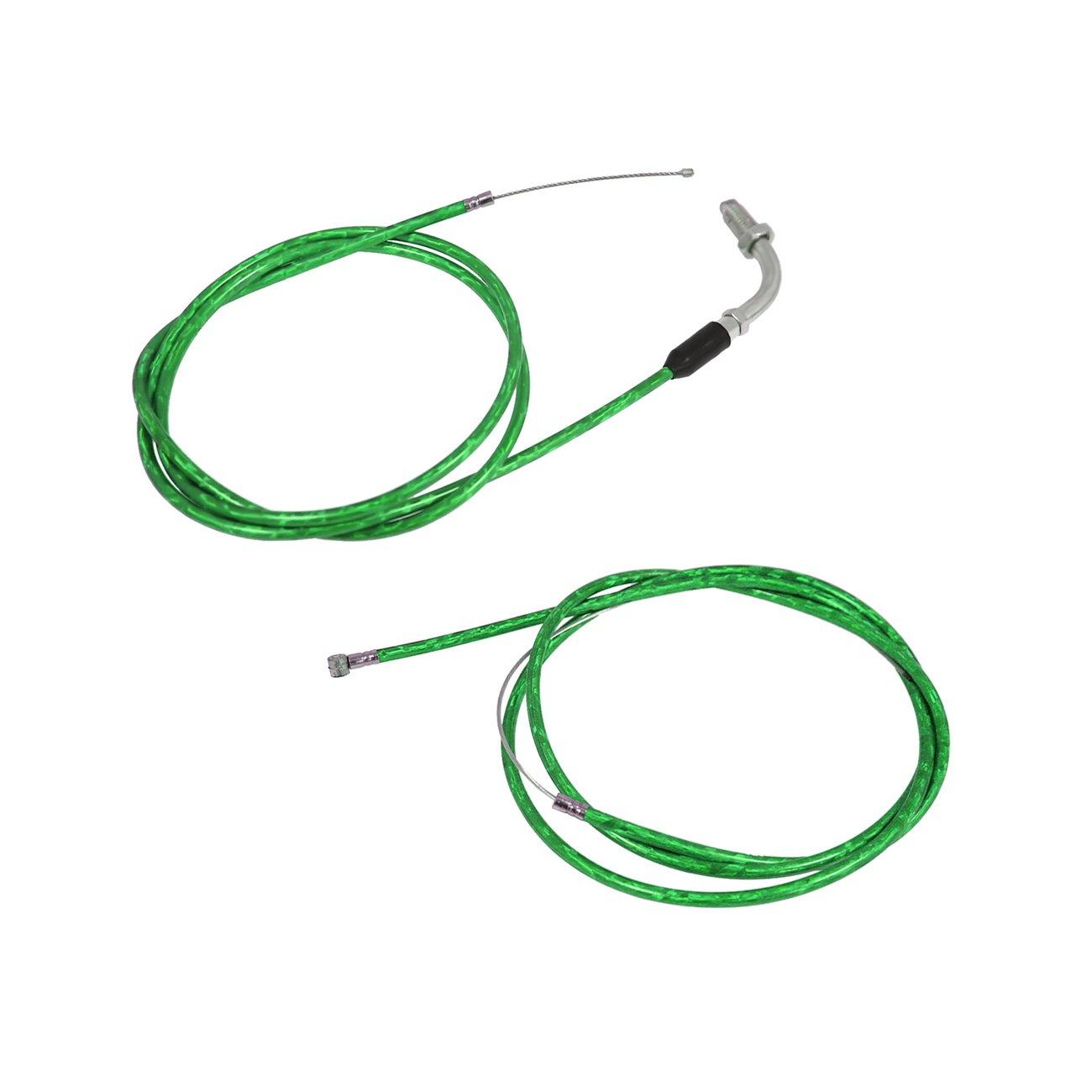 JRL Green Clutch Line&Throttle Cable Fit 49cc 60cc 66cc 80cc Engine Motorized Bike