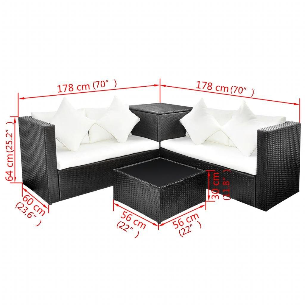Tidyard Conjunto Muebles de Jardín de Ratán 14 Piezas con 1 ...