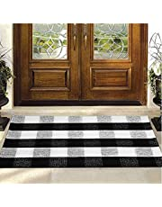 "Buffalo Plaid Rug - HZ-AU Checkered Indoor/Outdoor Door Mat Outdoor Doormat for Front Porch/Kitchen/Laundry Room Welcome Layered Mat (23.6""X35.4"", Black and White Plaid)"