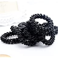 20Pcs Spiral Hair Ties Plastic Elastics Hair Ties No Crease Coil Hair Ties telephone cord hair ties Ponytail Holder For Women Girls (Black)