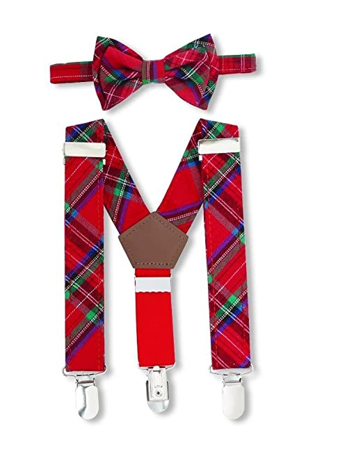 bafb22cf55ad Amazon.com: Mud Pie Boys Tartan Bow Tie and Matching Suspenders Set Red  Green Plaid: Kitchen & Dining