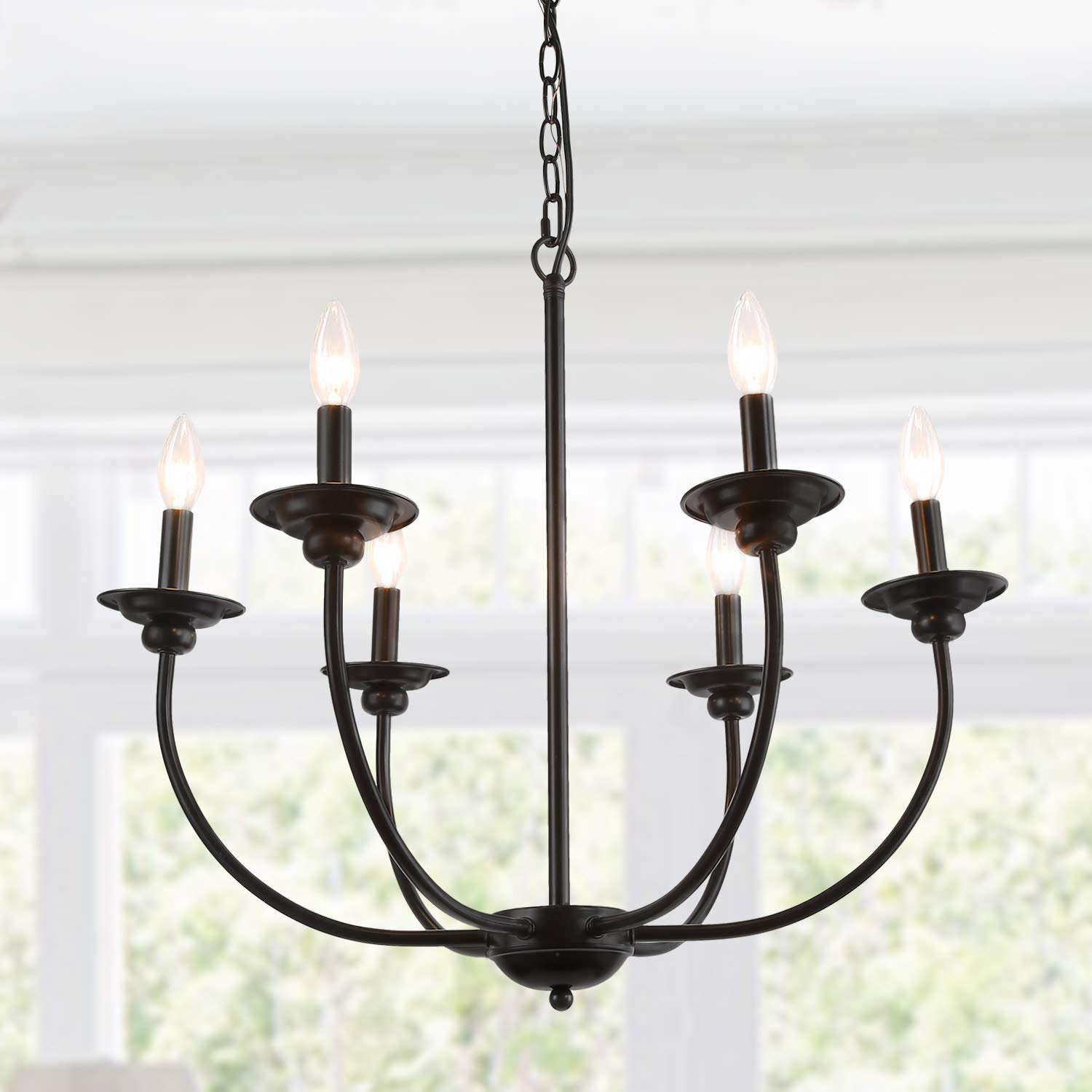 LALUZ 6-Light Transitional Chandeliers Pendant Lights for Dining Room, Oil Black, 26''H x 26''W