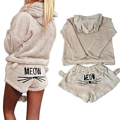 8d0c7fc7d785 Women Autumn Winter Pajamas Set Flannel Cartoon Cat Embroidered Hoodie  Short Pants Animal Sleepwear Homewear (