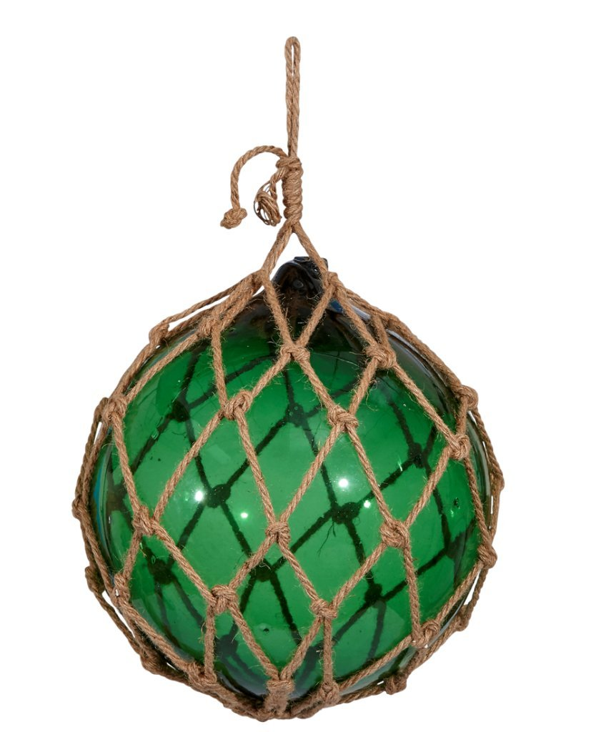 Huge Glass Float Ball In Netting 15'' inches | Japanese Fishing Glass Floats Buoy Blown Ball In Net Rope Extra Large - Green | Tiki Decor | The Seashell Company by The Seashell Company
