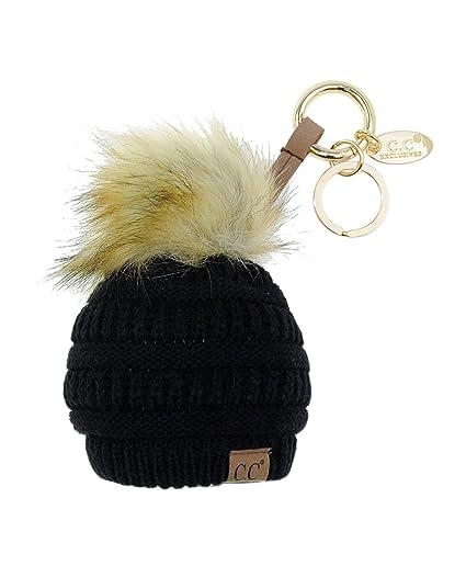 2887f0735f2 Amazon.com  C.C Pom Pom Beanie Key Chain Key Ring Handbag Tote ...
