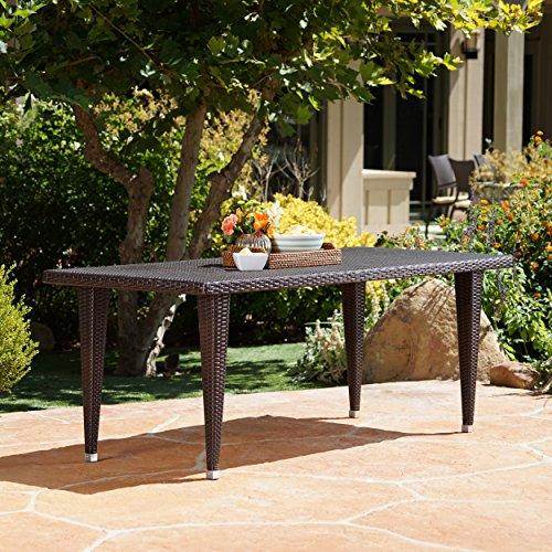 "GDF Studio 301531 Durango Outdoor 75"" Multi-Brown Wicker Rectangular Dining Table, Multibrown"