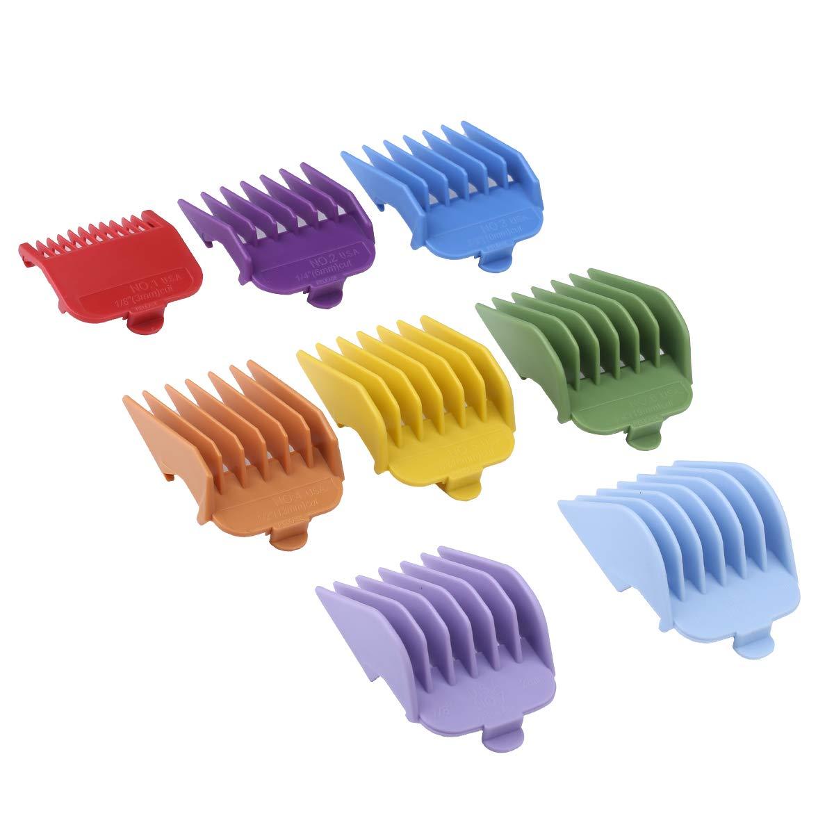 BESTBOMG 8 farbige Aufschiebekämme für Schermaschine, 8 Kämme #3170-400- 1/8''-1'' - Geeignet für alle Standard voller Größe Wahl Haarschneidemaschine