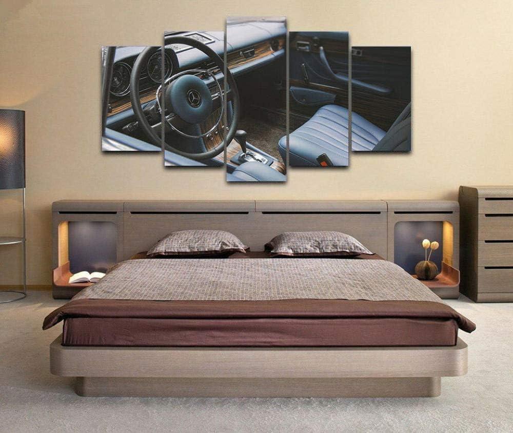 147Tdfc Leinwand Bilder 5 Teilig Kunstdruck Modern Wandbilder XXL Home Wohnzimmer Wanddekoration 5 TLG Bilder Mercedes 250Ce Vilner Retro-Oldtimer Creative Geschenk Kunstwerk 150X80