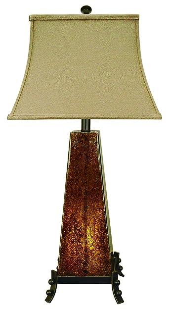 Amber Rock Glass Table Lamp W Night Light
