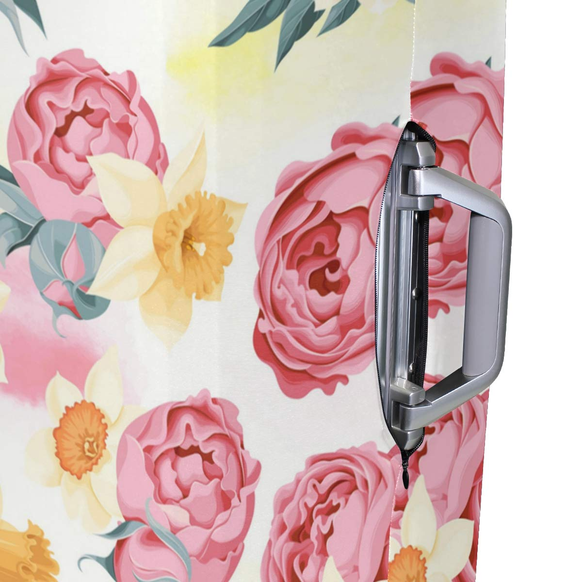 Yellow Flower And Rose Traveler Lightweight Rotating Luggage Protector Case Can Carry With You Can Expand Travel Bag Trolley Rolling Luggage Protector Case