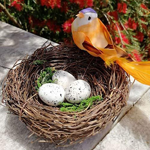 CMrtew 5PC New Fashion Cute Handmade Vine Brown Bird Nest House Nature Craft Holiday Home Decoration ()