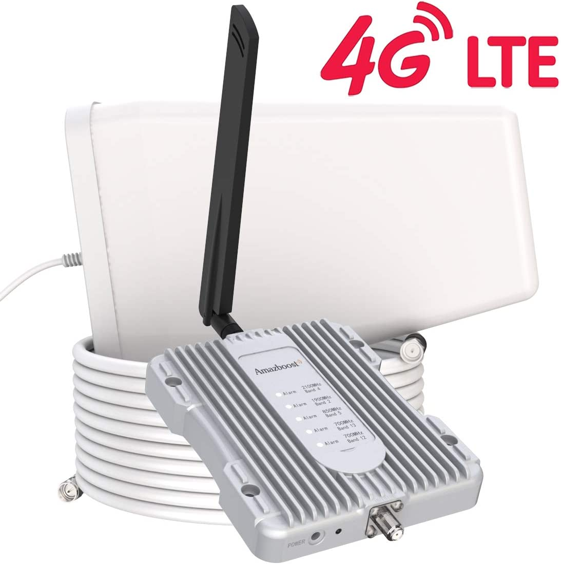 Amazboost Cell Phone Booster for Home -Up to 2,500 sq ft,Cell Phone Signal Booster Kit,All U.S. Carriers -Verizon,AT&T, T-Mobile, Sprint & More-4G 3G 2G LTE FCC Approved