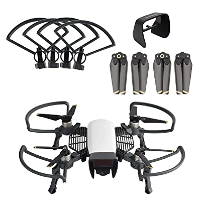 O'woda 3 in 1 Accessories Kits for DJI Spark: 1 Set Propeller Guard with Foldable Landing Gear + Camera Lens Sunhood + Propellers: Camera & Photo