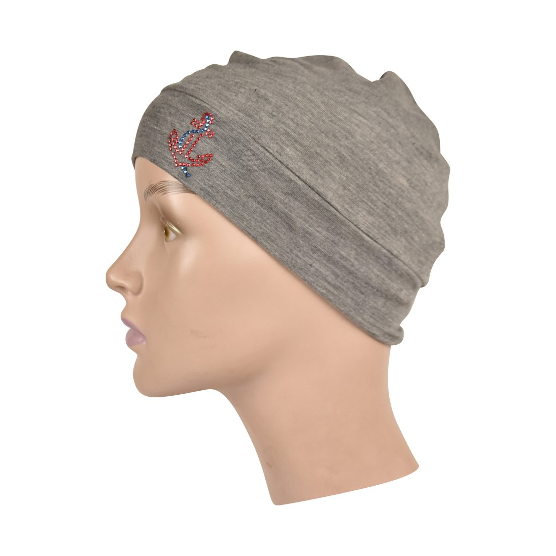 Chemo Beanie Sleep Cap with Red Stud Anchor Applique