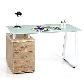 Escritorio Connect con estructura y cristal templado de color blanco y cajonera de madera color roble claro, 130 x 65 x 75 (altura) cm