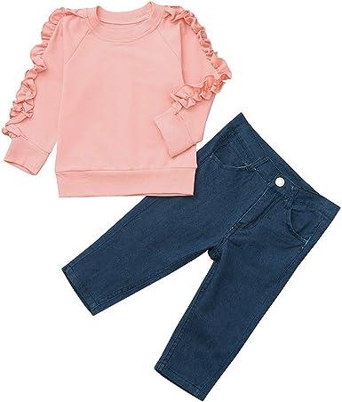 Mitlfuny Primavera Otoño Bebé Camisetas de Manga Larga Sudaderas de Cuello Redondo Volantes Color Sólido Camisas Niñas Niños Blusas Tops + Pantalones Jeans Conjunto de Ropa Niño 0-4 Años: Amazon.es: Ropa y