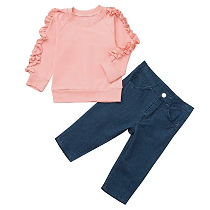 1051fffaa succeedtop Clothes for Toddler Baby Girls Long Sleeve Solid Ruffles Tops+ Denim Pants Clothes Outfits