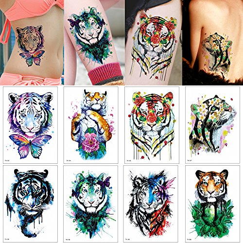 New 8 Sheets Temporary Waterproof Tattoo Sticker Tiger Women Design Party Body Makeup Decal DIY for sale