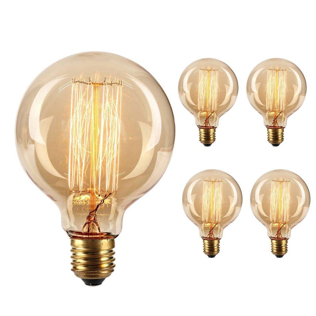 Vintage Edison Bulb,Large Round Edison Antique Light Bulbs-G30/G95 120V 40W- Dimmable Thread Filament Style Nostalgic Light Bulbs (4 Pack)