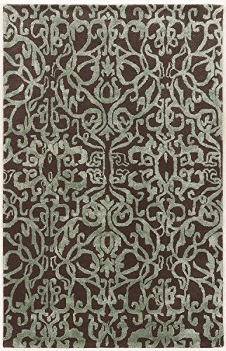 Crystal Viscose Collection (Linon Aspire Collection Wool Crystal Brown Blue Synthetic Rugs, 5'X 8', Gray)