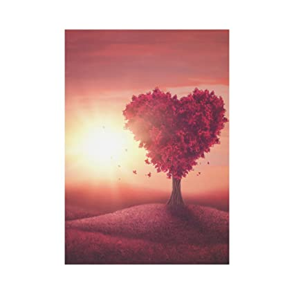 c9ae87da61d0 InterestPrint Sunset Tree with Red Heart Shape Polyester Garden Flag  Outdoor Banner 28 x 40 inch, Wedding Valentine's Day Decorative Large House  Flags ...