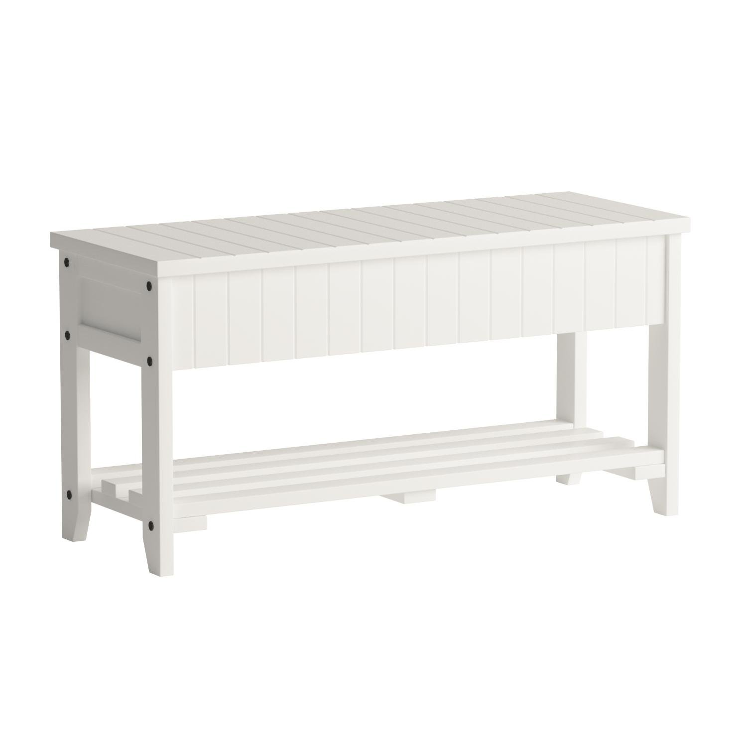 Roundhill Furniture Quality Solid Wood Shoe Bench Storage, White