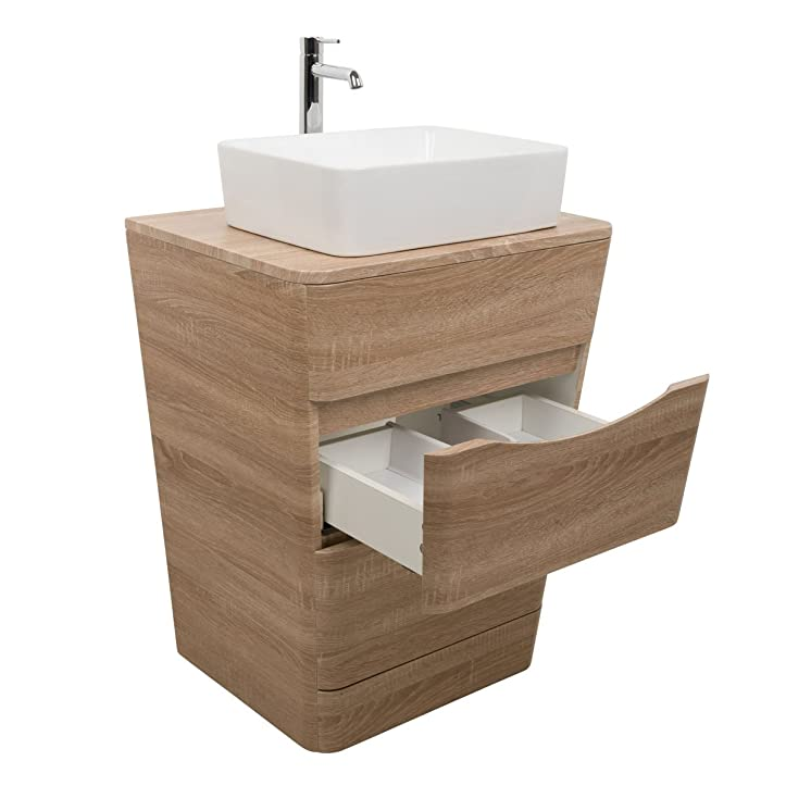 Perfect Amazon.de: Badezimmer 650 Waschtisch Unterschrank Eiche Hell U0026 Aufsatz  Waschbecken Rechteck Good Looking