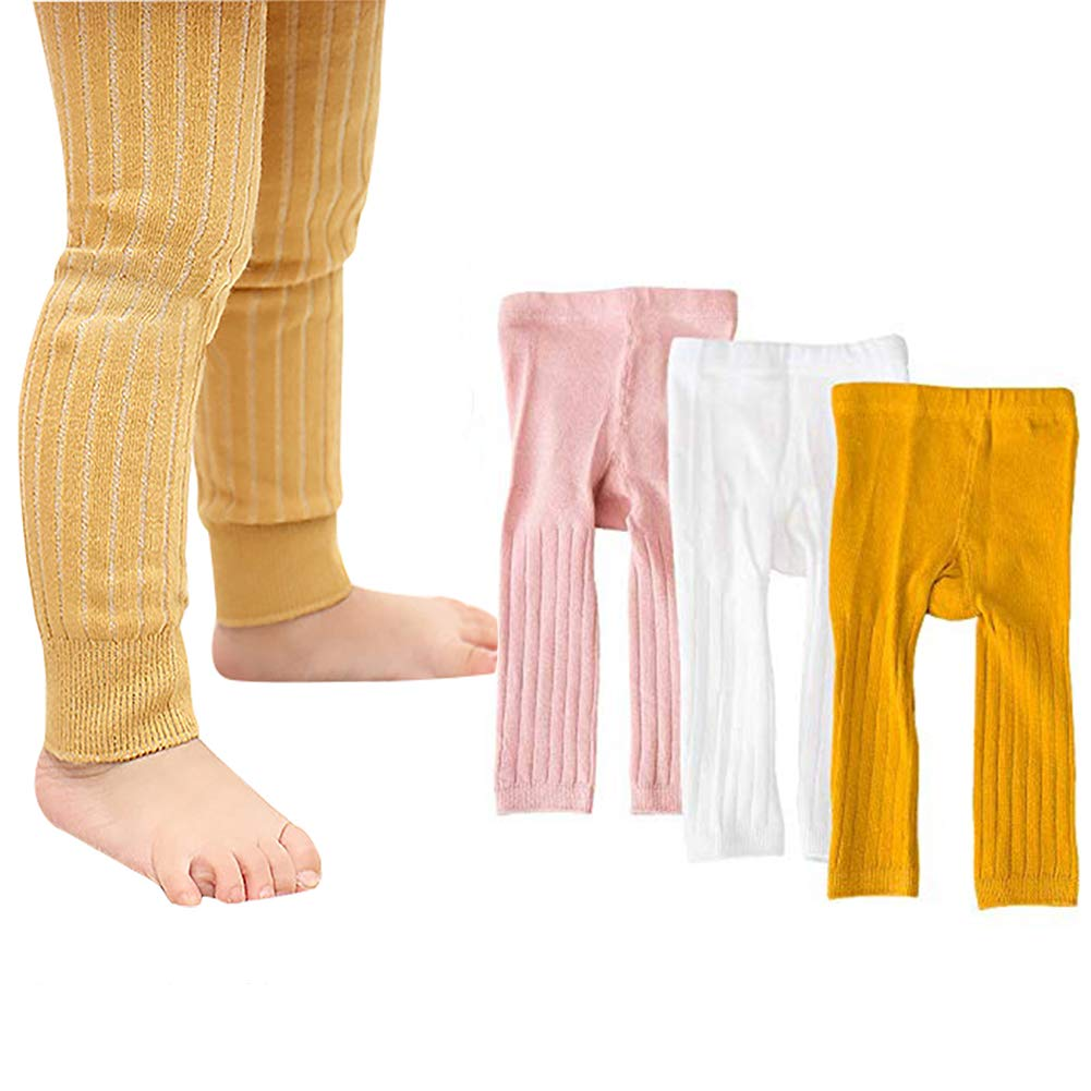 Looching Baby Toddler Girls Cotton Footless Cable Knit Vertical Striped Nine Pants Leggings Pants Tights Stocking Panties 3 Pack by Looching