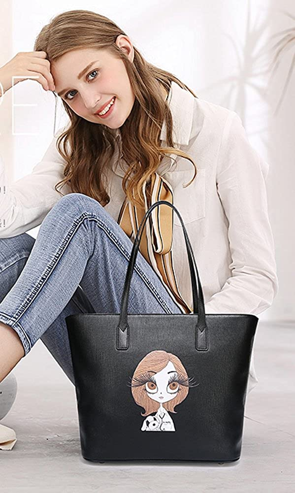 Queenmart Fashion and Cute Womens PU Leather Shoulder Handbag High Capacity Bag