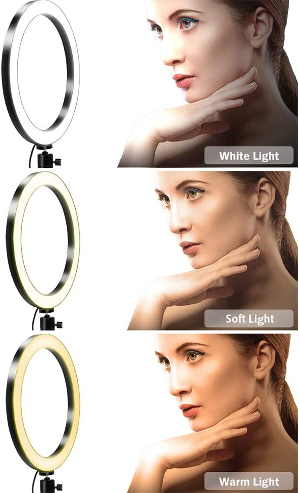 Funiee 6 in 1 Selfie Ring Light with Tripod Stand and Phone Holder LED Circle Lights Halo Lighting for Make Up Live Steaming Photo Photography Vlogging Video