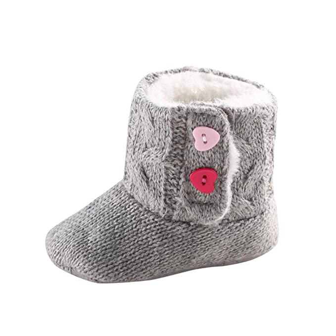 YanHoo Zapatos para niños Zapatos de bebé de Pelo Entero Calientes Zapatos de algodón de bebé Botón cálido Pisos Botines de algodón para niños pequeños Pre ...