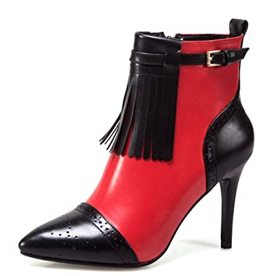 0b449716f90 Nine Seven Genuine Leather Women s Pointed Toe Stiletto Heel Two Tone  Tassels Handmade Fashion Dress Ankle