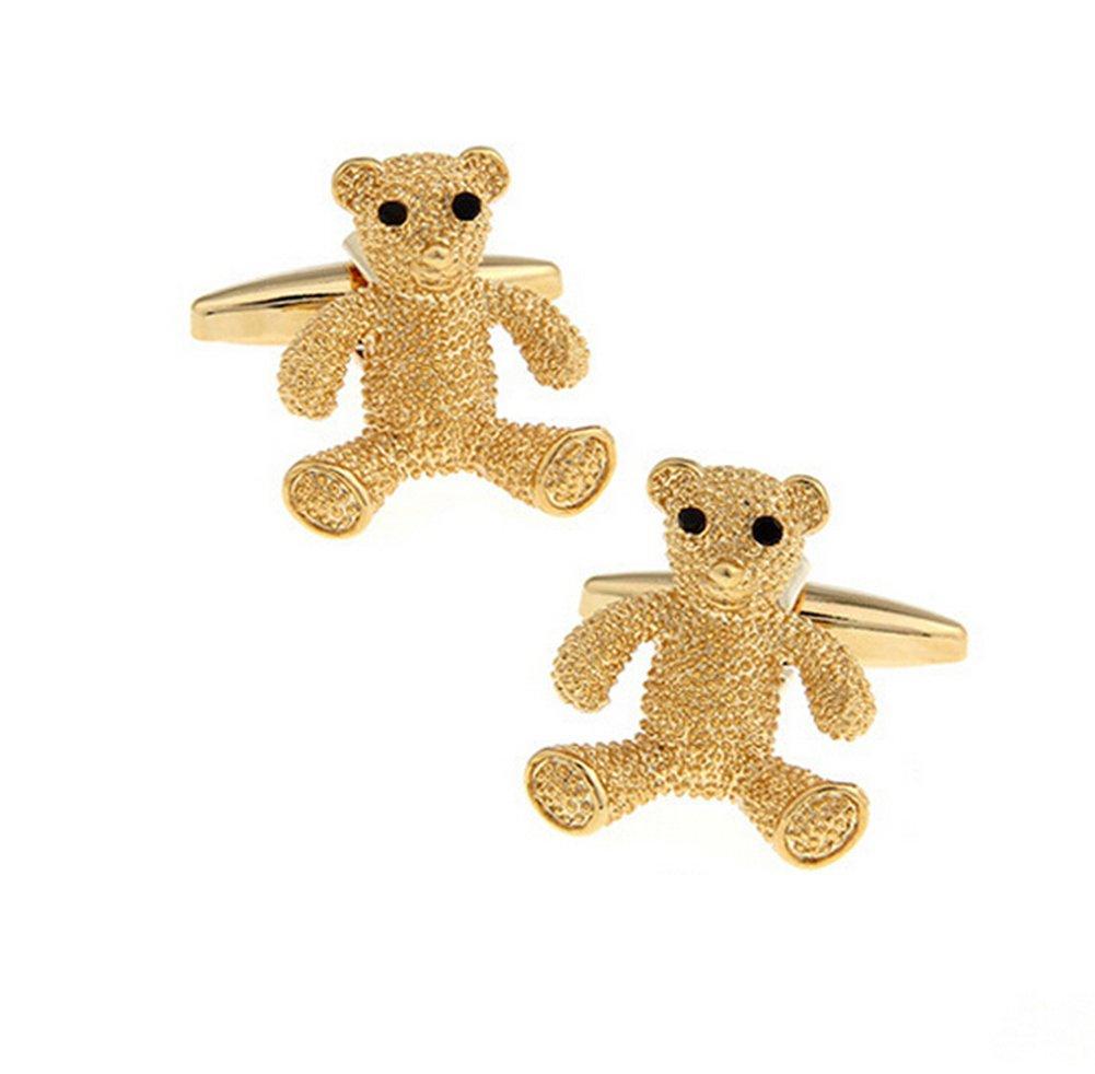 Hosaire Men's Cufflinks Golden Bear Cuff Link Fashion Delicate Cuff-link for Wedding Party
