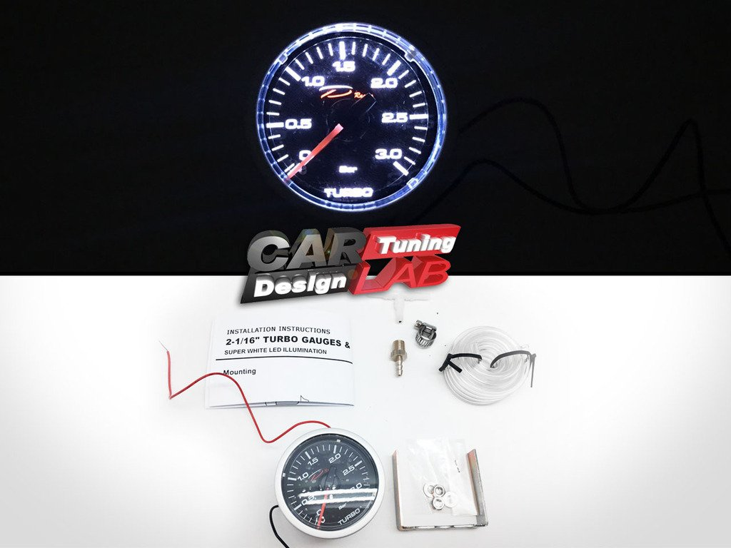 D Racing 52mm 2' Mechanical Turbo Boost Gauge Meter 3 BAR White LED CarLab