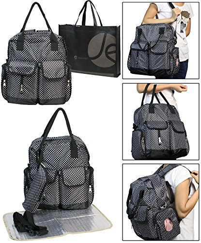 3 Piece Diaper Set (3 Piece Set Diaper Bag, Bottle Zipper Pouch, Changing Mat (Black))