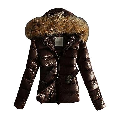 on sale 91fc4 7690c LvRao Damen Light Daunenjacke Kurze Winterjacke mit Fellkapuze Leichte  Steppjacke Outdoor Warme Jacken und Mäntel