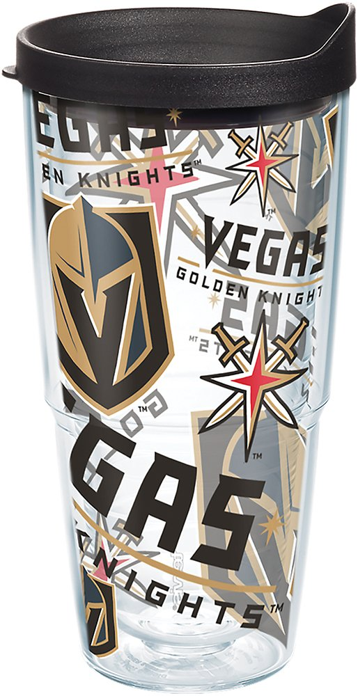 Tervis 1272281 NHL Vegas Golden Knights All Over Tumbler with Wrap and Black Lid 24oz, Clear by Tervis