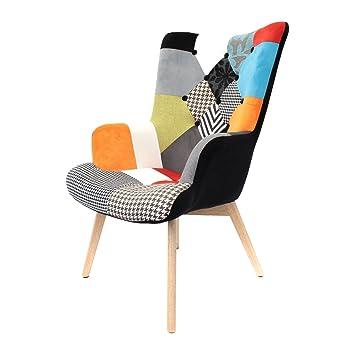 the home deco factory hd3610 helsinki fauteuil boismtaltissu noir 6750 - Fauteuil En Bois