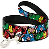Buckle Down Pet Leash - 5-Marvel Characters Black - 4 Feet Long - 1.5'' Wide