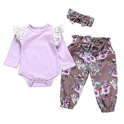 655a6849e5820 Baby Clothes Set, Girls Plain Ruffles Romper Tops + Floral Print Trouser +  Headbands Toddler