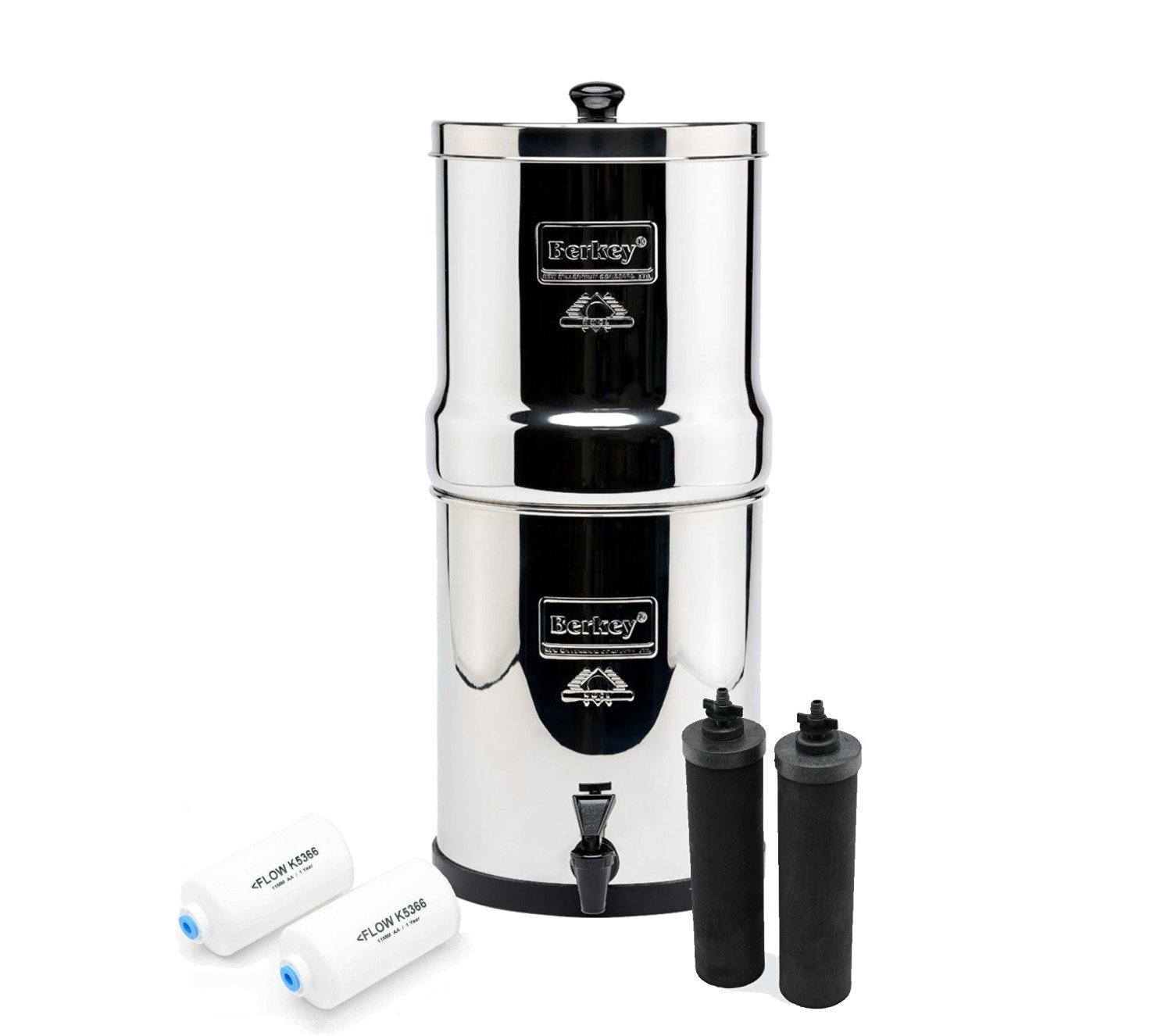 Royal Berkey Water Filter Complete with 2 Black Purifiers Elements With 2 PF-2 Fluoride Filter~Filtration System UK Stainless Steel