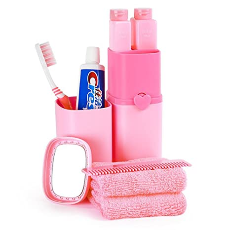 Soporte para cepillos de dientes wekity portátil multifunción recibir tapa de la bandeja lavar a conjunto